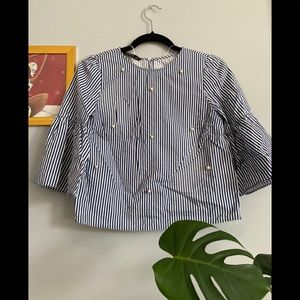 Zara Striped Blouse With Pearl Detail